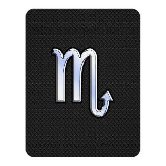 Scorpio Zodiac chrome like Sign black snake skin 11 Cm X 14 Cm Invitation Card
