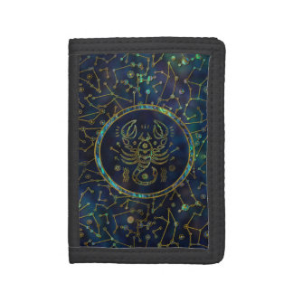 Scorpio Zodiac Gold Abalone on Constellation Tri-fold Wallet