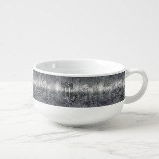 Scorpio Zodiac Symbol in Grunge Metallic Style Soup Bowl With Handle
