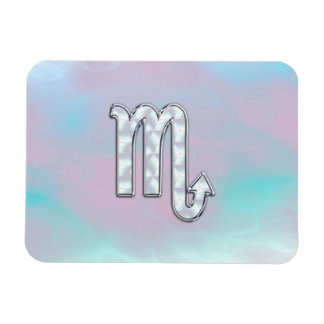 Scorpio Zodiac Symbol in Mother of Pearl Style Rectangular Photo Magnet
