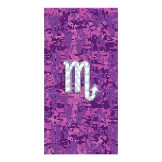 Scorpio Zodiac Symbol on Pink Digital Camo Picture Card