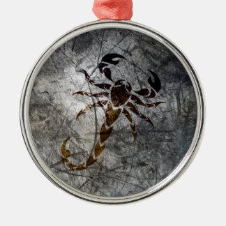 Scorpion Silver-Colored Round Decoration