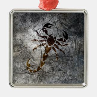 Scorpion Silver-Colored Square Decoration