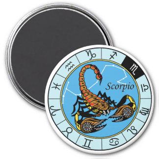scorpion zodiac 7.5 cm round magnet