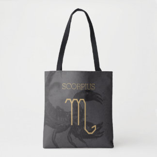 Scorpius Zodiac Sign | Custom Background + Text Tote Bag