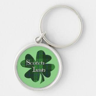 Scotch Irish Green Plaid Shamrock Key Ring