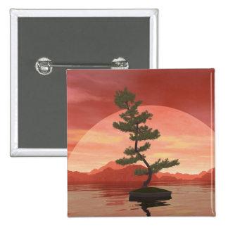 Scotch pine bonsai tree - 3D render 15 Cm Square Badge