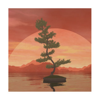 Scotch pine bonsai tree - 3D render Wood Wall Decor