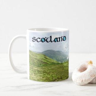 Scotland Calligraphy with Highlands Mountain Photo Coffee Mug
