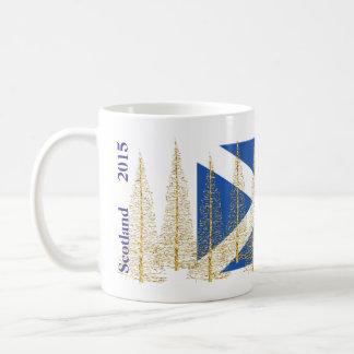 Scotland Flag Gold Christmas Trees Mug