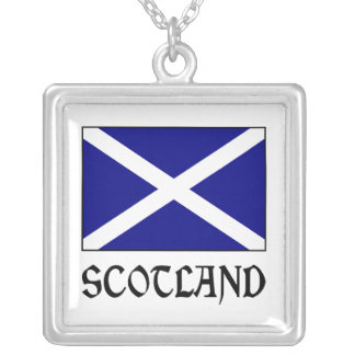 Scotland Flag & Word Silver Plated Necklace