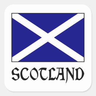 Scotland Flag & Word Square Sticker