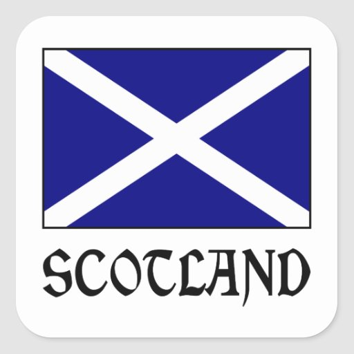 Scotland Flag & Word Square Stickers