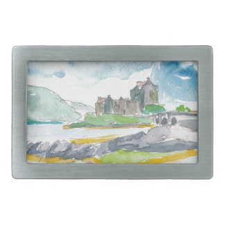 Scotland Highlands Fantasy and Eilean Donan Castle Rectangular Belt Buckles