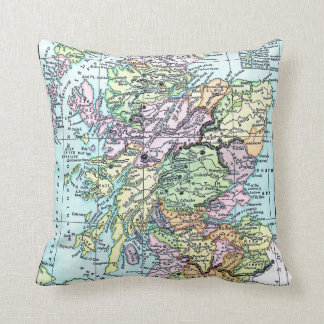Scotland Map Black Watch Tartan Plaid Pillow