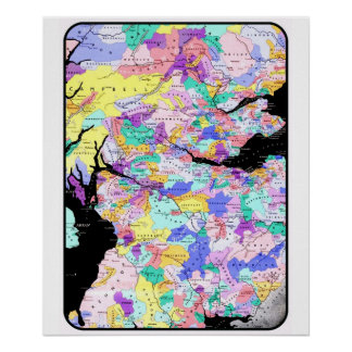 Scotland Map Scottish Clan Names Locations Image Poster