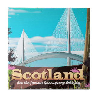 Scotland Queensferry Crossing travel poster Tile