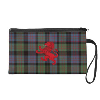 Scotland red Rampant Lion, MacDonald tartan plaid Wristlet Purse
