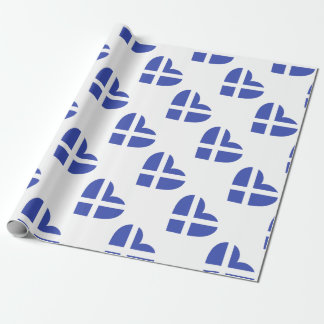 Scotland/Scottish Flag-inspired Hearts Wrapping Paper