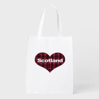 Scotland Tartan Heart Reusable Grocery Bag