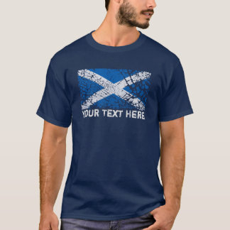 Scotland Text + Grunge Scottish Flag T-Shirt