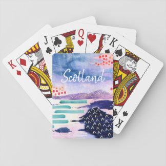 Scotland Text Watercolour Painting Playing Cards