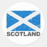 Scotland Vintage Flag Round Sticker