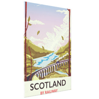Scotland Vintage locomotive travel poster Canvas Print