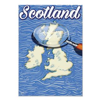 Scotland Vintage style travel poster 9 Cm X 13 Cm Invitation Card
