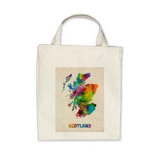 Scotland Watercolor Map Canvas Bag