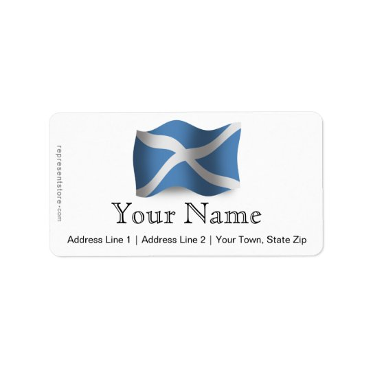 Scotland Waving Flag Label