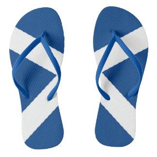 Scotland's flag on flip flops