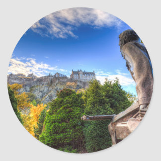 Scots American Memorial And Edinburgh Castle Classic Round Sticker