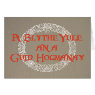 Scots Language White Christmas Wreath Red, Burlap Card