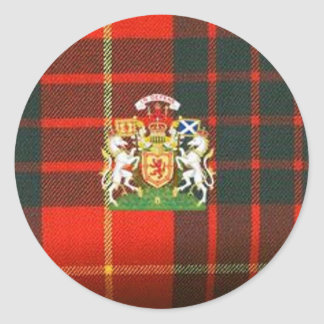 SCOTS UNICORN HERALDRY ON CAMERON TARTAN CLASSIC ROUND STICKER