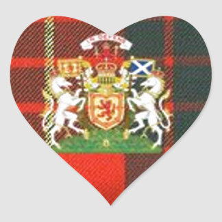 SCOTS UNICORN HERALDRY ON CAMERON TARTAN HEART STICKER