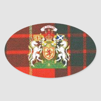 SCOTS UNICORN HERALDRY ON CAMERON TARTAN OVAL STICKER