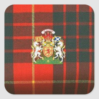 SCOTS UNICORN HERALDRY ON CAMERON TARTAN SQUARE STICKER