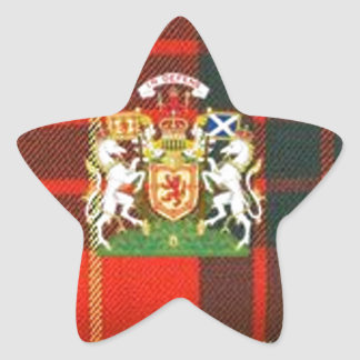 SCOTS UNICORN HERALDRY ON CAMERON TARTAN STAR STICKER