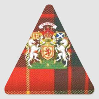 SCOTS UNICORN HERALDRY ON CAMERON TARTAN TRIANGLE STICKER