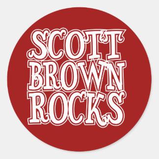 Scott Brown Rocks Round Sticker