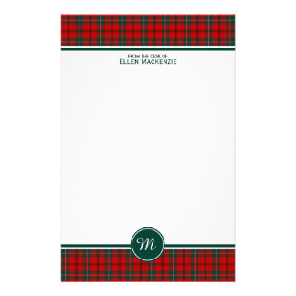 Scott Clan Tartan Red and Green Plaid Monogram Stationery