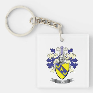 Scott Family Crest Coat of Arms Single-Sided Square Acrylic Key Ring