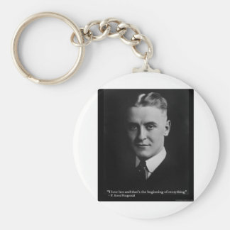 "Scott Fitzgerald ""Love/Beginning"" Quote Gifts Etc Basic Round Button Key Ring"