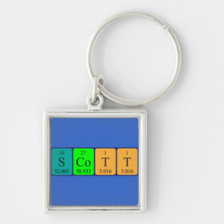 Scott periodic table name keyring Silver-Colored square key ring