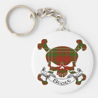 Scott Tartan Skull Basic Round Button Key Ring