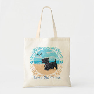 Scottie at the Beach Budget Tote Bag