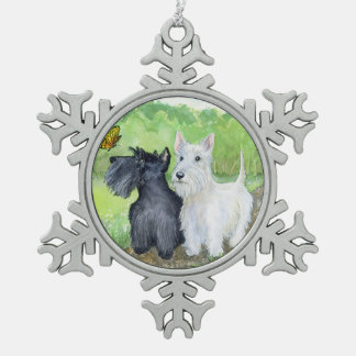 Scottie Discoveries Snowflake Pewter Christmas Ornament