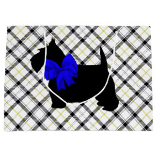 Scottie Dog and Blue Bow on Plaid Large Gift Bag