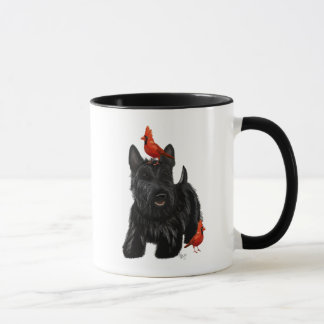 Scottie Dog and Red Birds Mug